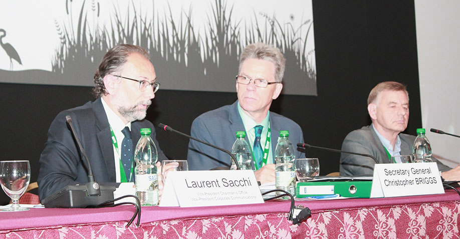 Laurent Sacchi, Vice President Chairman, Danone, Christopher Briggs, Secretary General of the Ramsar Convention, and Bernard Giraud, Livelihoods Fund
